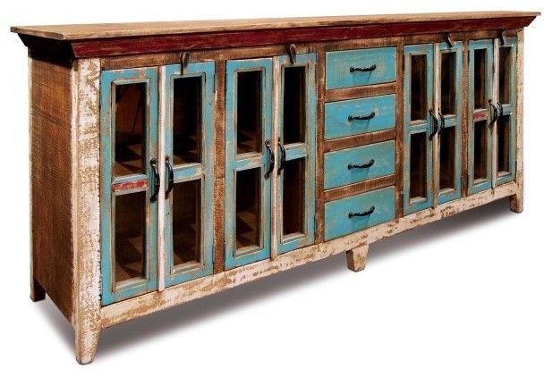 Rustic Distressed Reclaimed Solid Wood Sideboard, Curio Cabinet. Glass Doors  And
