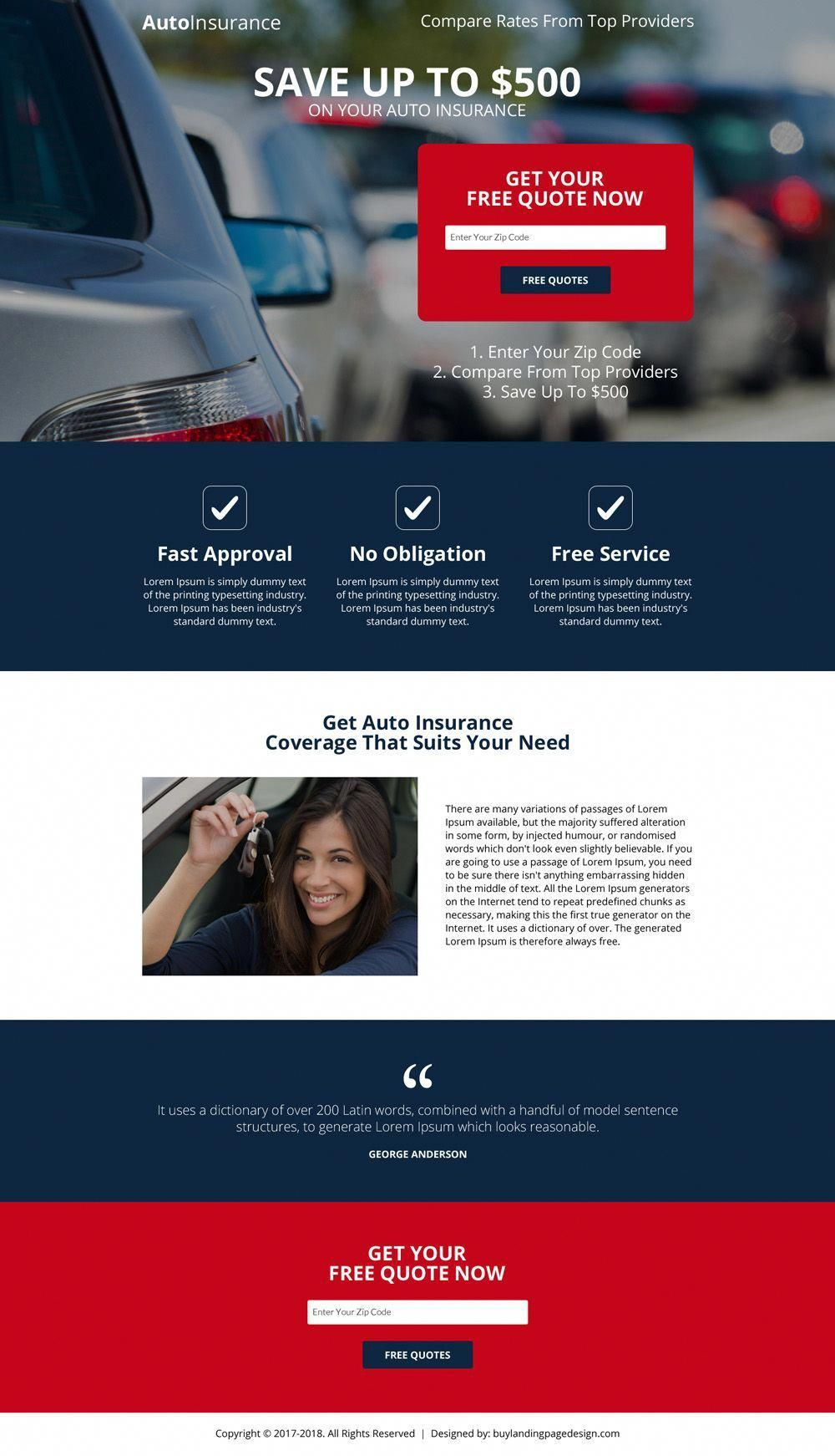 Responsive Auto Insurance Free Quote Capturing Landing Page