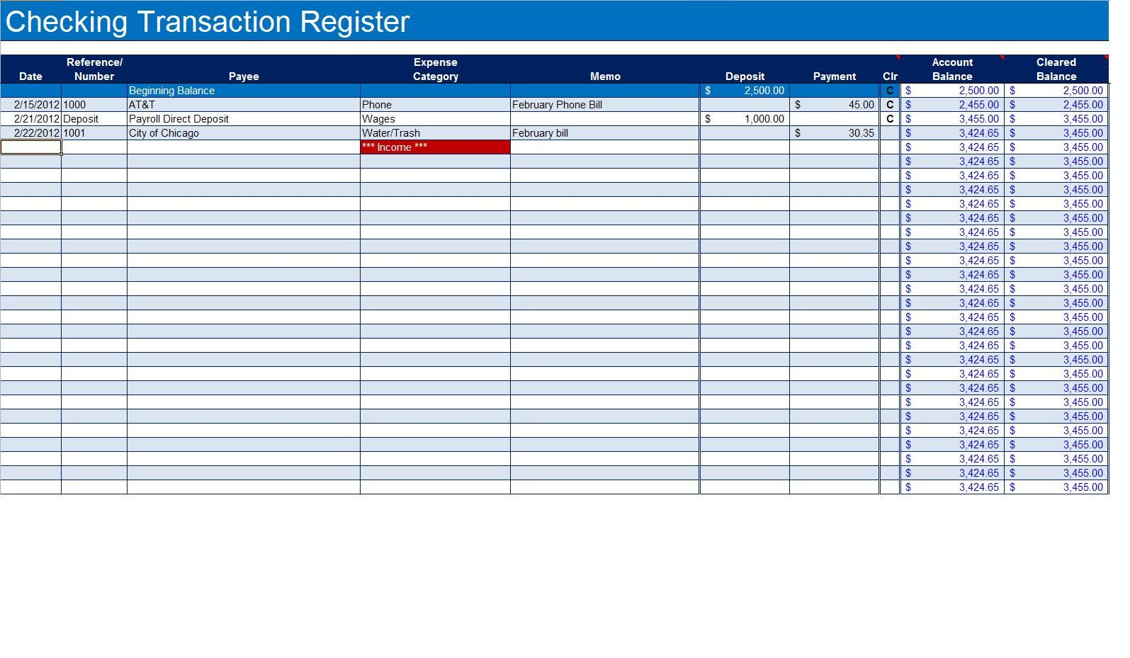 how to create a checkbook register in excel checkbook register. Black Bedroom Furniture Sets. Home Design Ideas