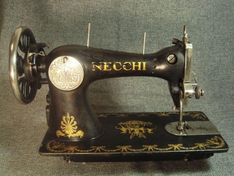 Old Antique Italian Sewing Machine 40 VITTORIO NECCHI PAVIA Classy Italian Sewing Machines