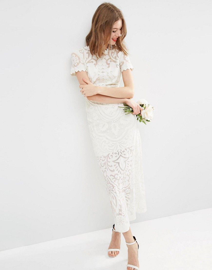 Mini white wedding dress  BRIDAL Lace Burn Out Maxi Dress  Bridal lace Wedding and Wedding dress