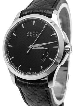 13551b26699 GB1001660 Authentic Gucci Automatic Watch 126.4 Swiss made 38mm round  polished steel case with skeleton caseback Black diamond…