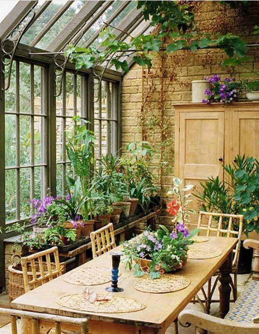 Dreamy conservatory sun room filled with orchids and warm wood furniture - Gartenhaus inneneinrichtung ...