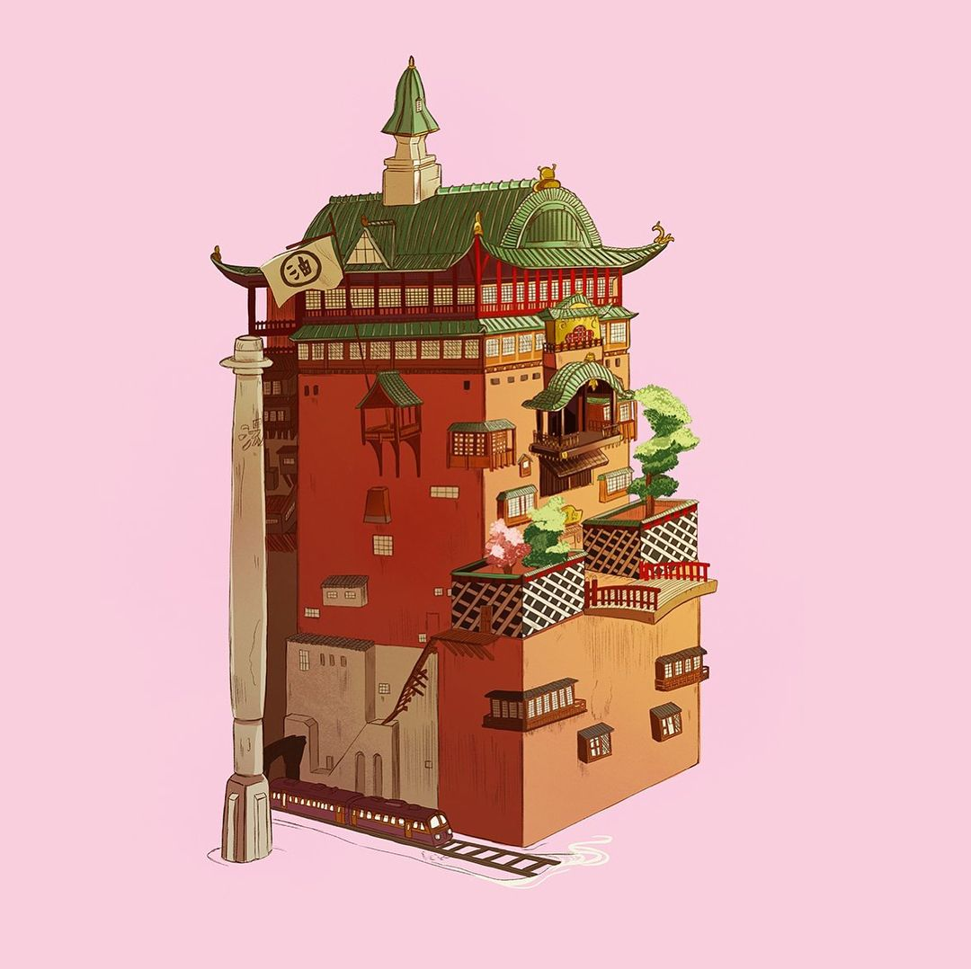 Decided To Do One Of Those Draw This Again Things I Drew The Bath House From Spirited Away Lemme Just Say Ghibli Museum Studio Ghibli Movies Ghibli Movies
