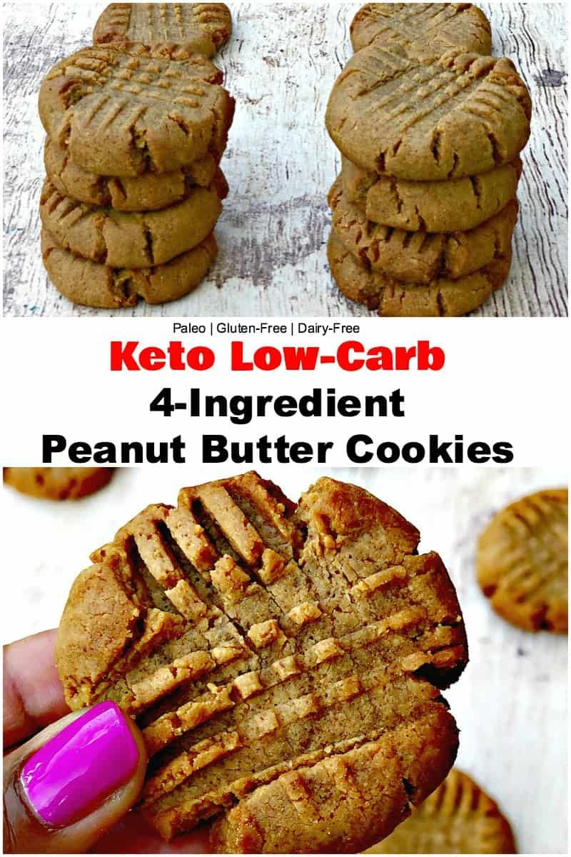 Keto Low Carb 4 Ingredient Peanut Butter Cookies Is A