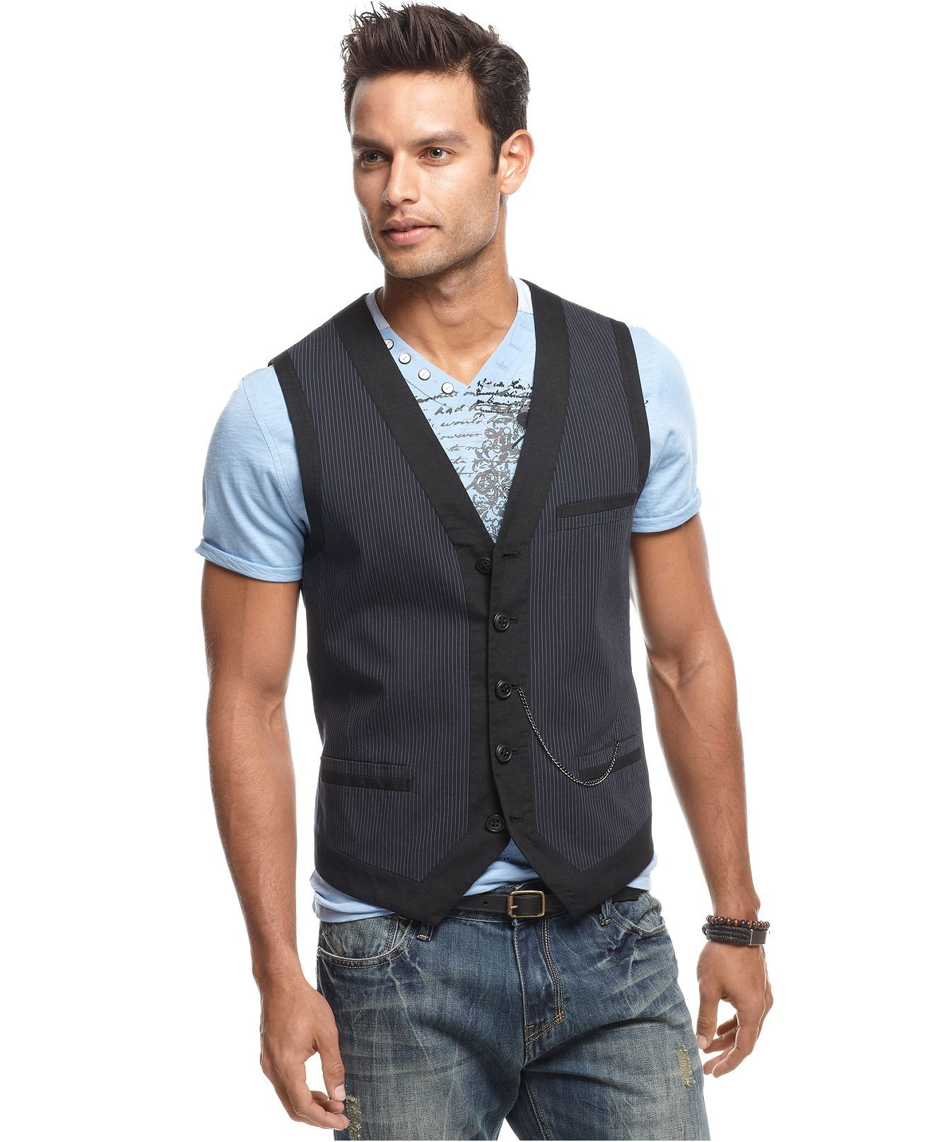 INC International Concepts Vests, Pinstripe Vest - Mens Blazers ...