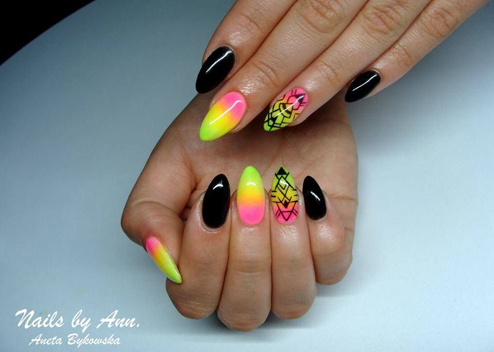 Pin by Indigo Nails Lab. on Neon nails | Pinterest | Black ombre ...