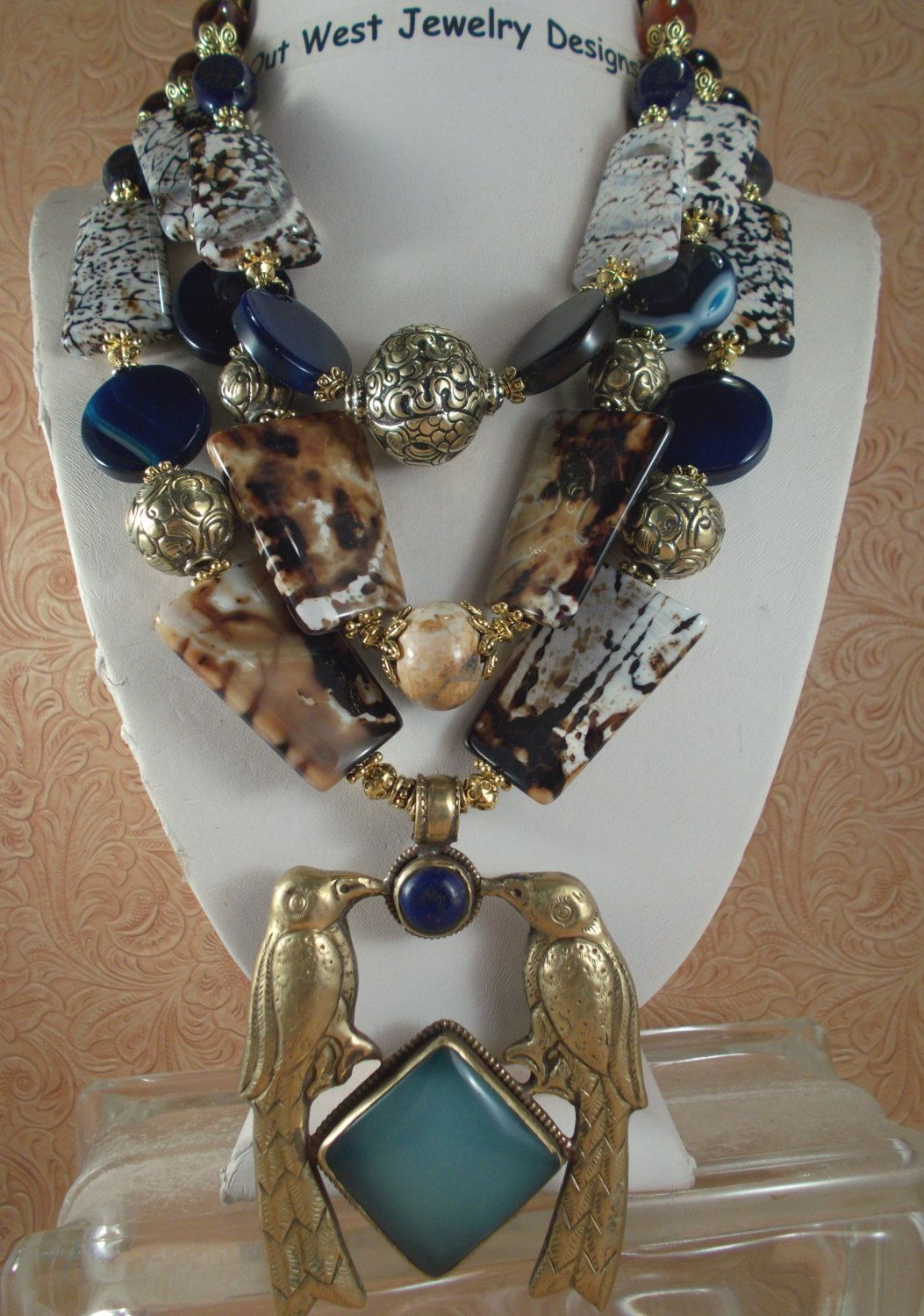Cowgirl Necklace Set - Chunky Brown Fire Agate, Chalcedony and Lapis with a Handcrafted Brass Pendant - pinned by pin4etsy.com
