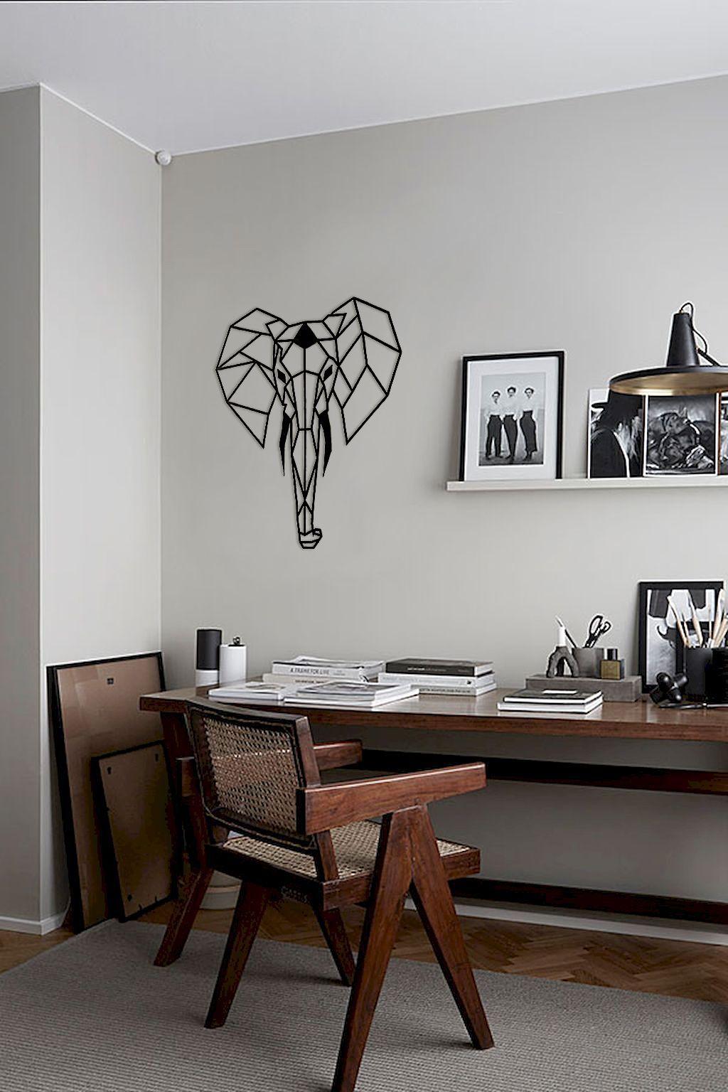 Geometric elephant metal wall art by metaldecorstudio