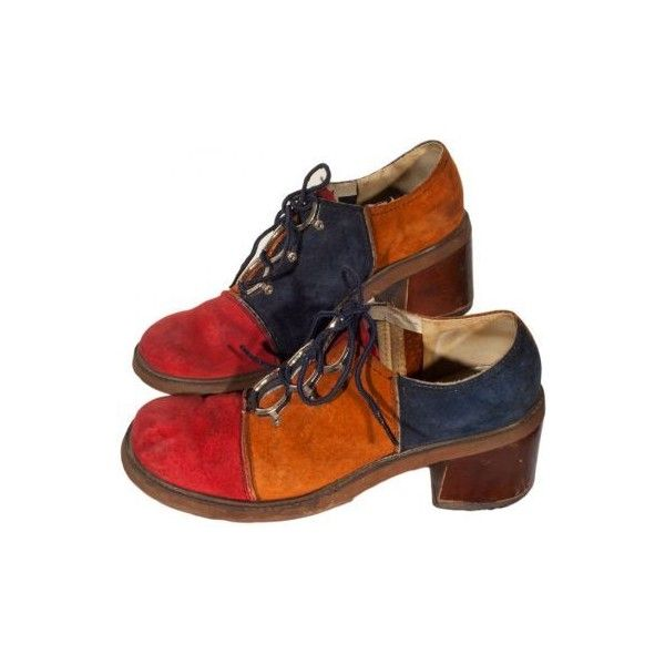 wood heel shoes, suede…   Vintage