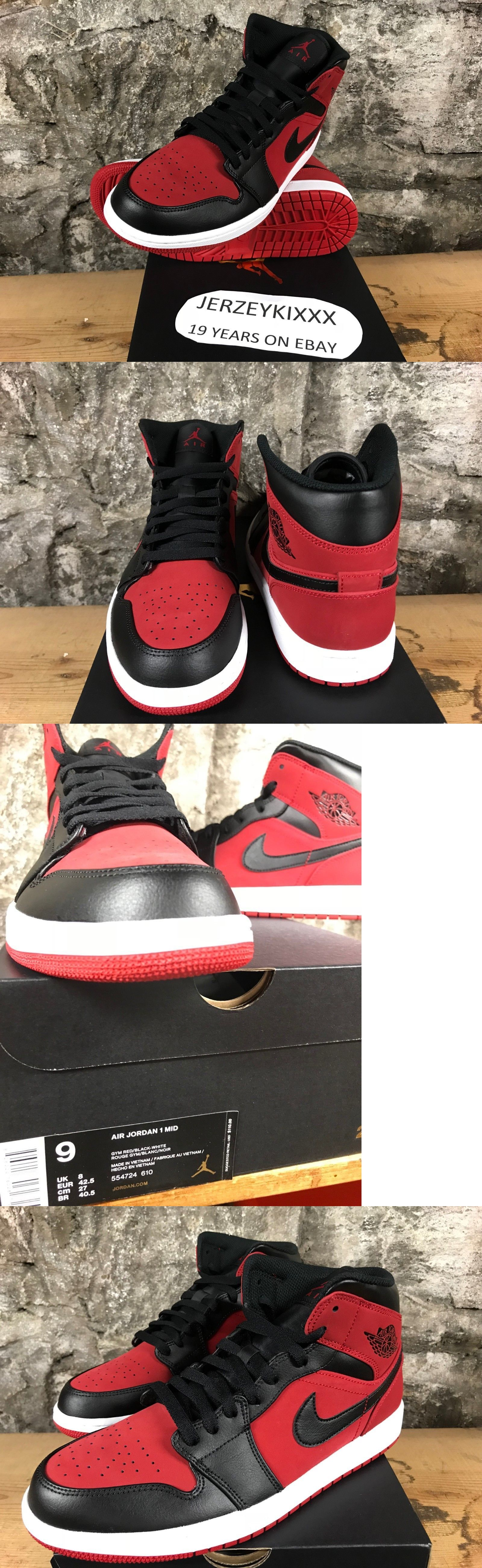 half off 0b2d6 b6a94 Mens Shoes 93427  Jordan Retro Air Jordan 1 Mid Banned Gym Red Black Men S  554724-610 Sz 13-14-15 -  BUY IT NOW ONLY   95 on  eBay  shoes  jordan   retro ...