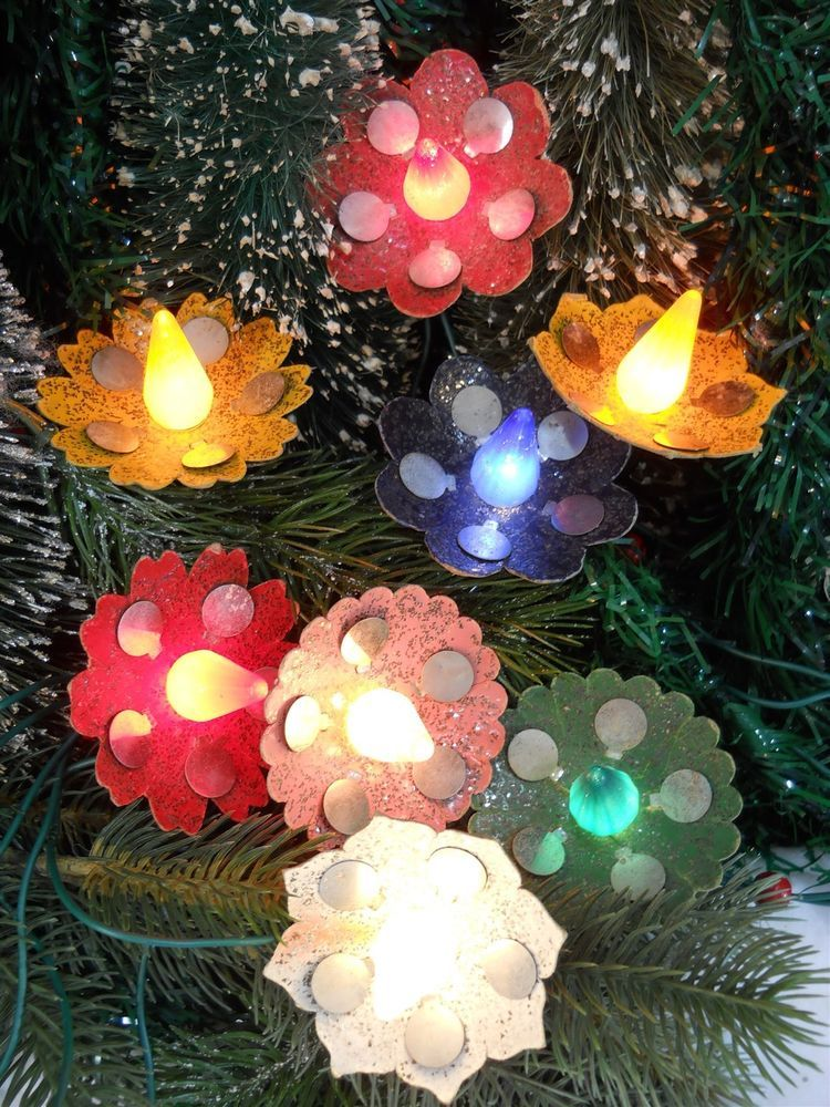vtg 1930s spangle lacquer glass glitter xmas tree light reflectors set of 8 diecut