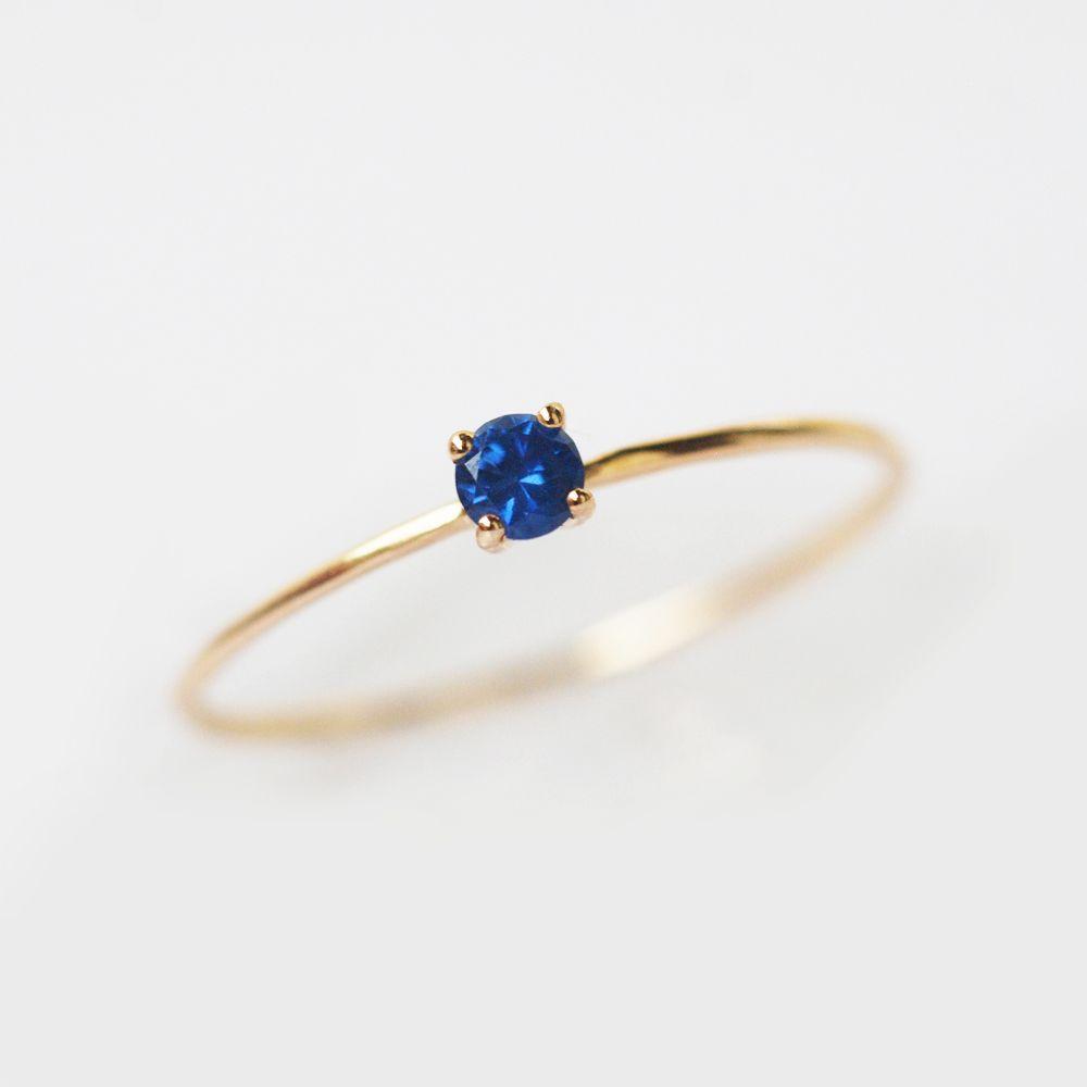 Blue Sapphire Ring September Birthstone Natural Sapphire Ring Dainty Ring Delicate Ring Petite Ring Simple Ring Stacking Ring Blue Gemstone Rings Blue Sapphire Rings Sapphire Ring Simple