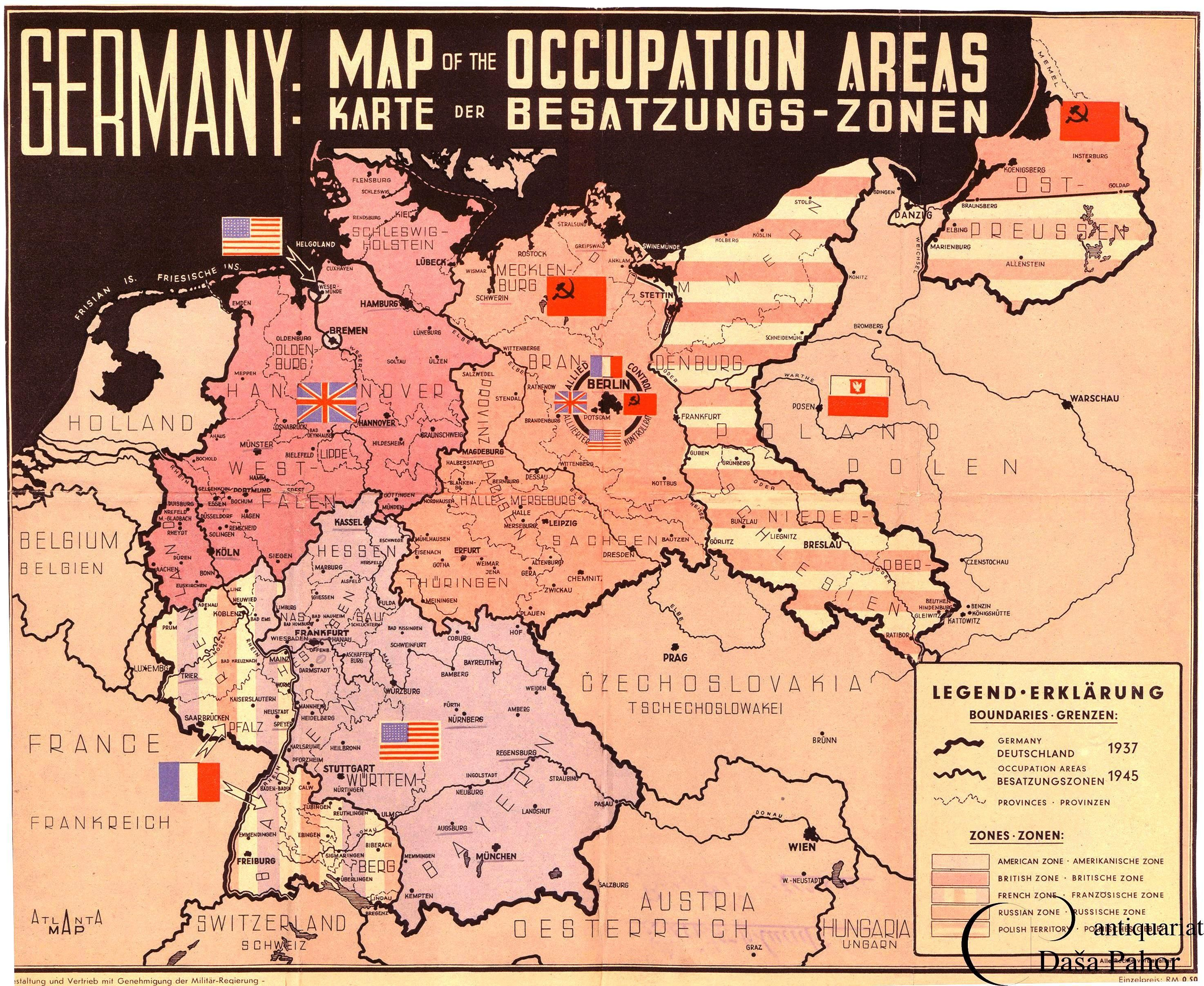 1945 Zones of Occupation for Germany map in 2020 Germany