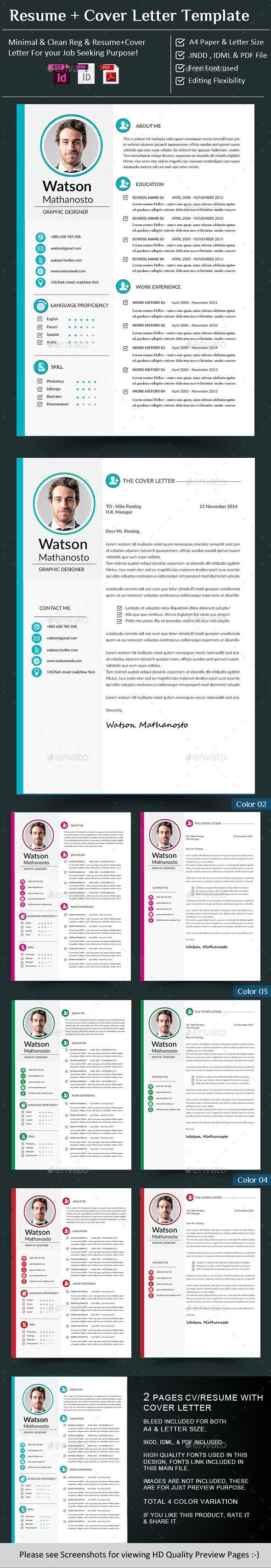 CV / Resume + Cover Letter InDesign — InDesign INDD #resume #cover ...