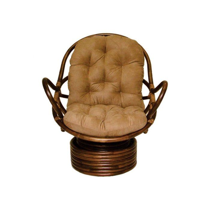 Rattan Swivel Rocker With Cushion