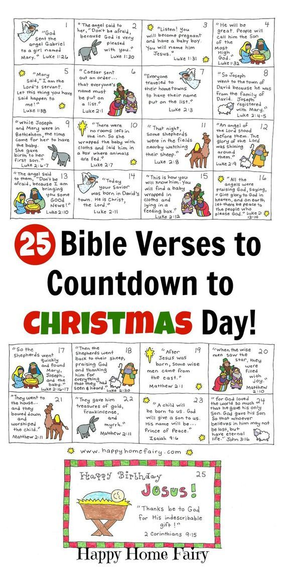 Bible Verse Advent Countdown for Kids - FREE Printable