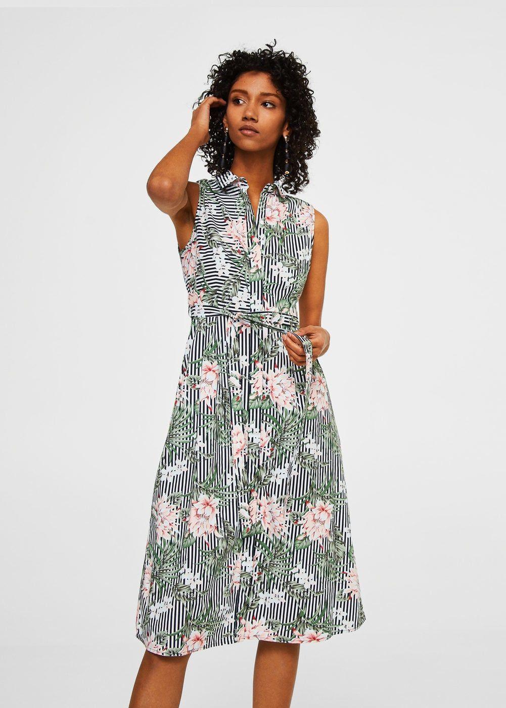 Cotton shirt dress woman mango ss pinterest belted shirt