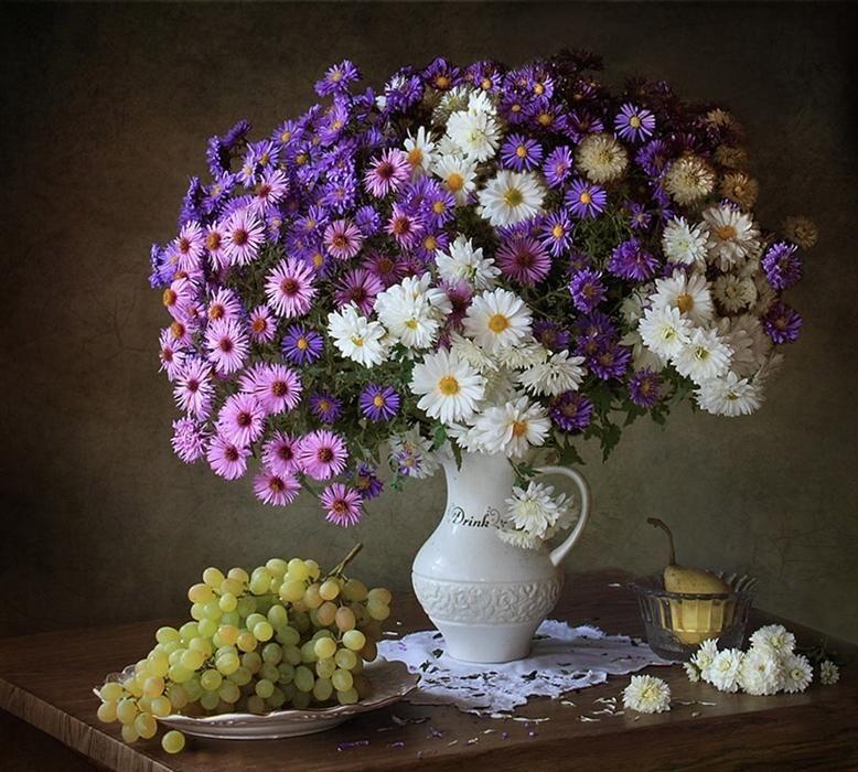 Chrysanthemums And Asters By Tatiana Skorokhod Still Life Flowers Flower Painting Flower Vases