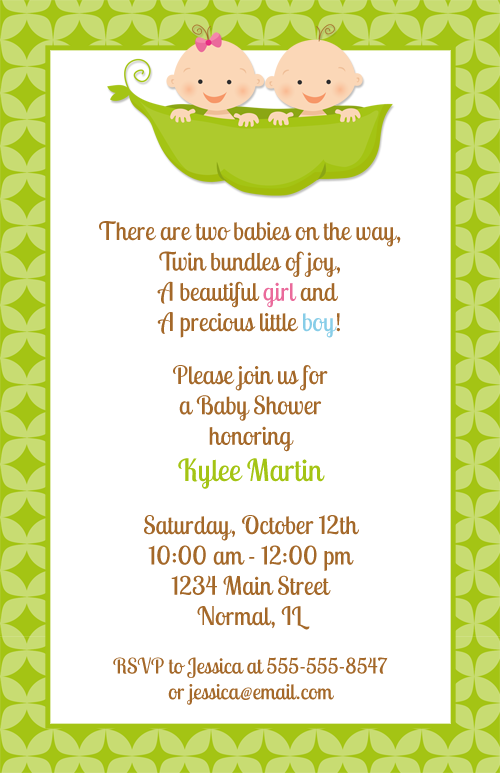 twins two peas in a pod baby shower invitations baby shower