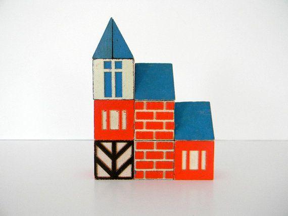 Set of 10 Vintage Scandinavian Style House Blocks