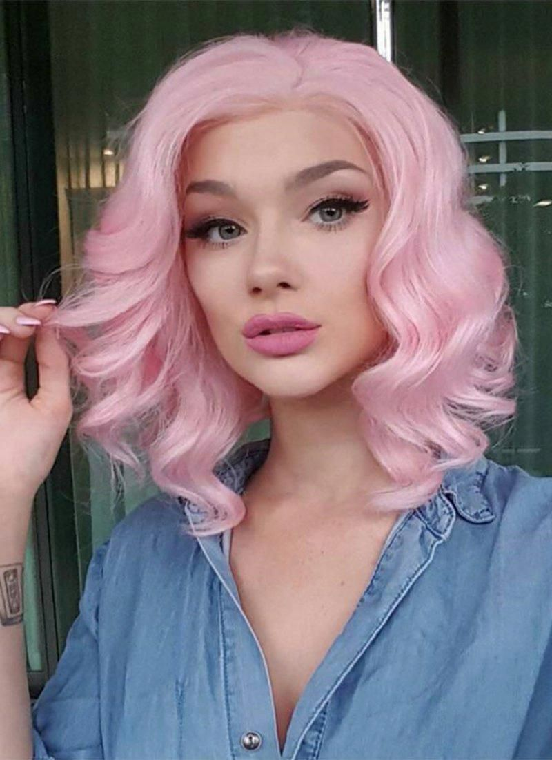 12/'/' Bob Cut Cotton Candy Pink Synthetic Cosplay Wig NEW