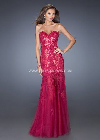 Cranberry La Femme 20425 Lace Embellished Mermaid Prom Dress