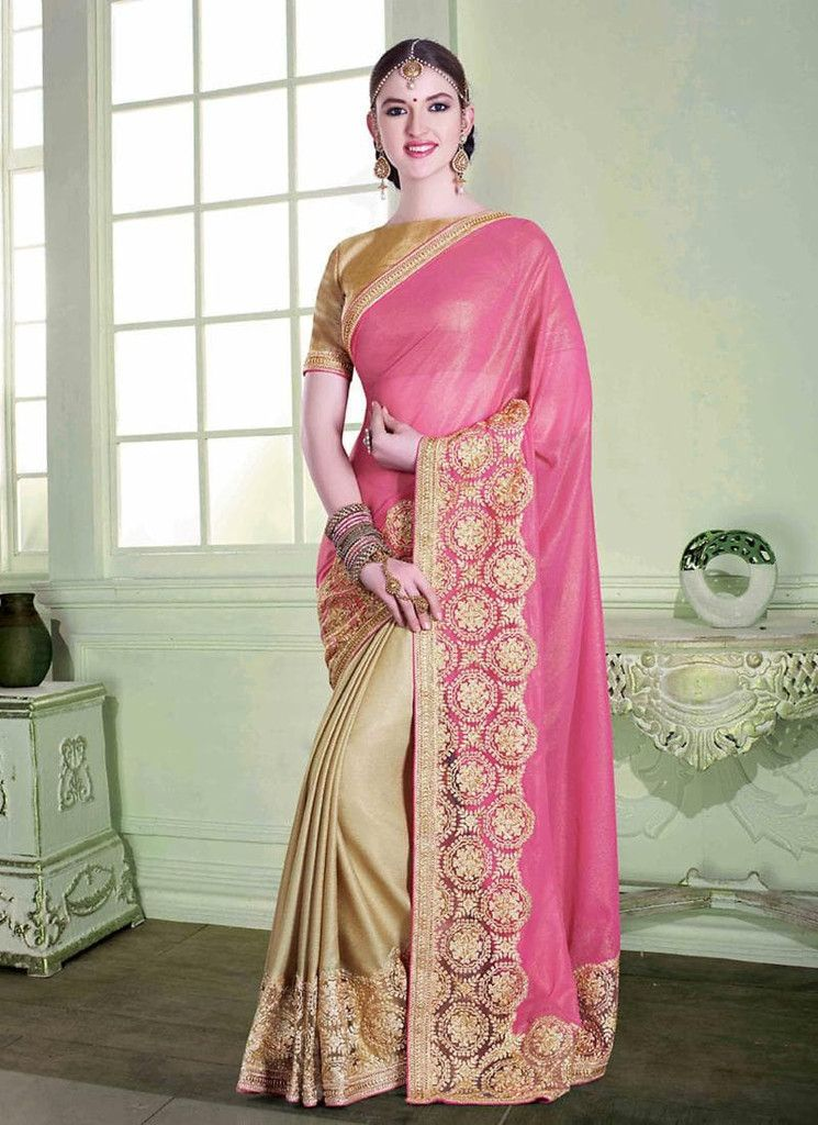 Brown With Pink Plain Pallu Chiffon & Netted Sarees Online India ...