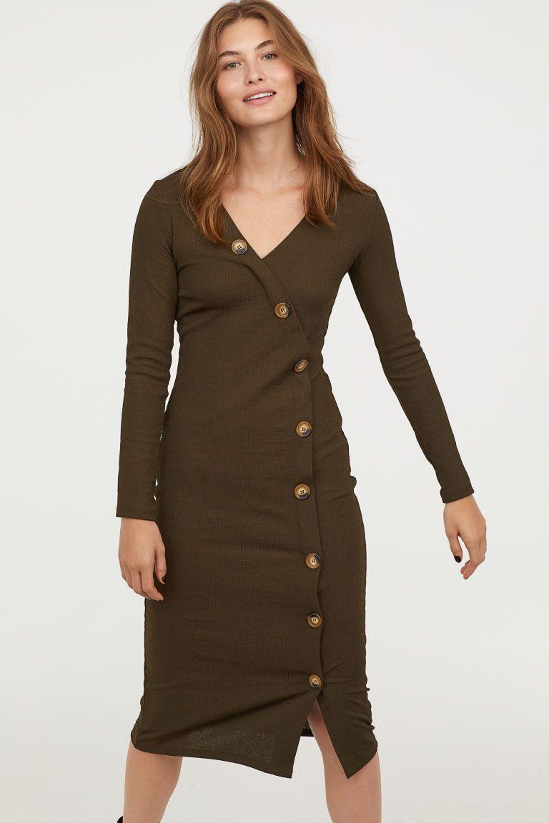 ea08a216b53c V-neck Dress - Khaki green - Ladies