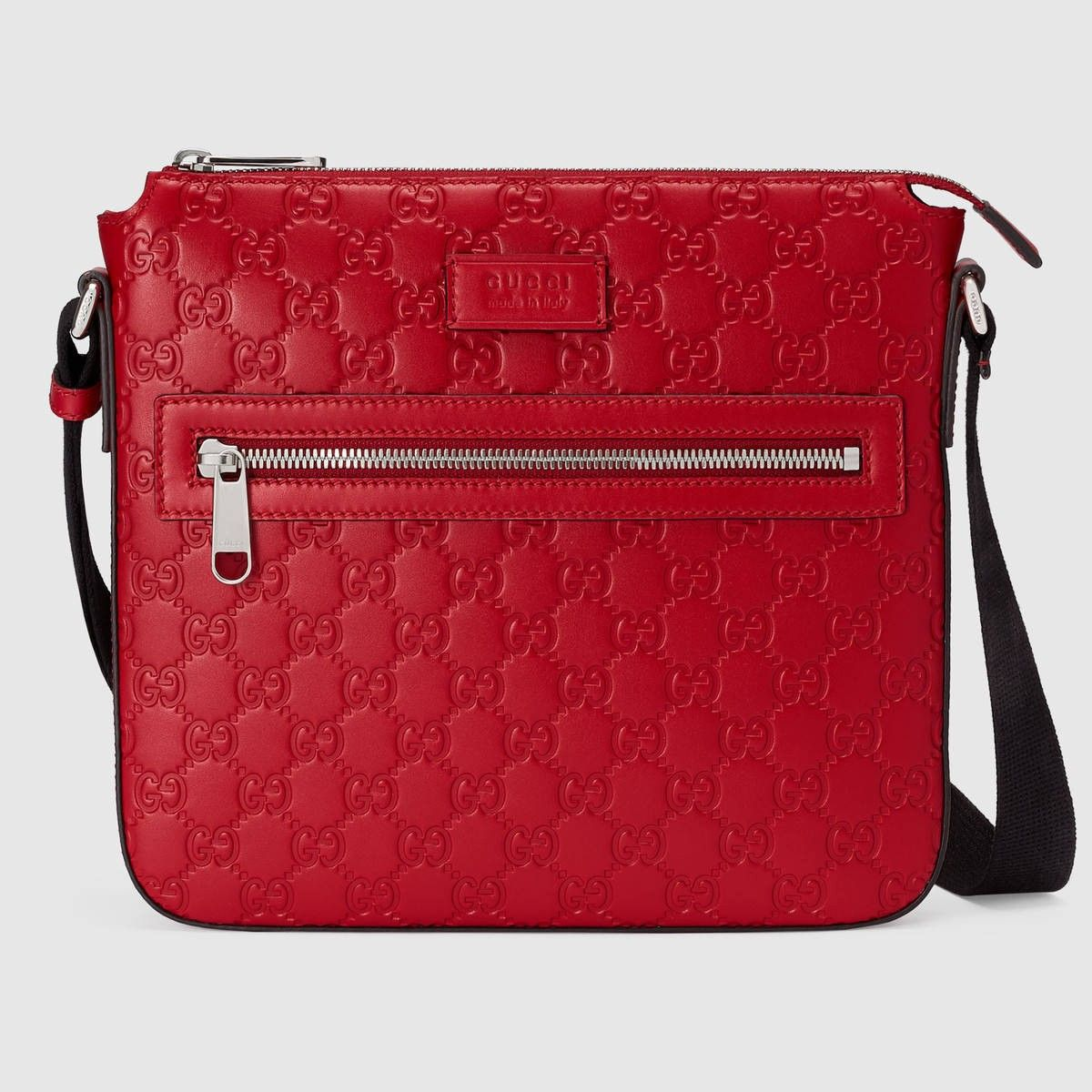 98582ee6ef7 GUCCI Gucci Signature messenger - hibiscus red Gucci Signature.  gucci  bags   shoulder bags  lining  nylon  suede