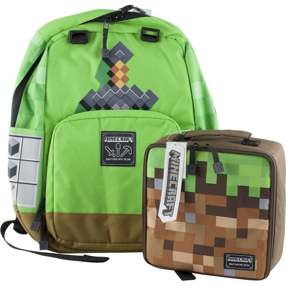 Minecraft Sword School Backpack Book Bag Lunch Box Tote Boys Green Brown Dirt