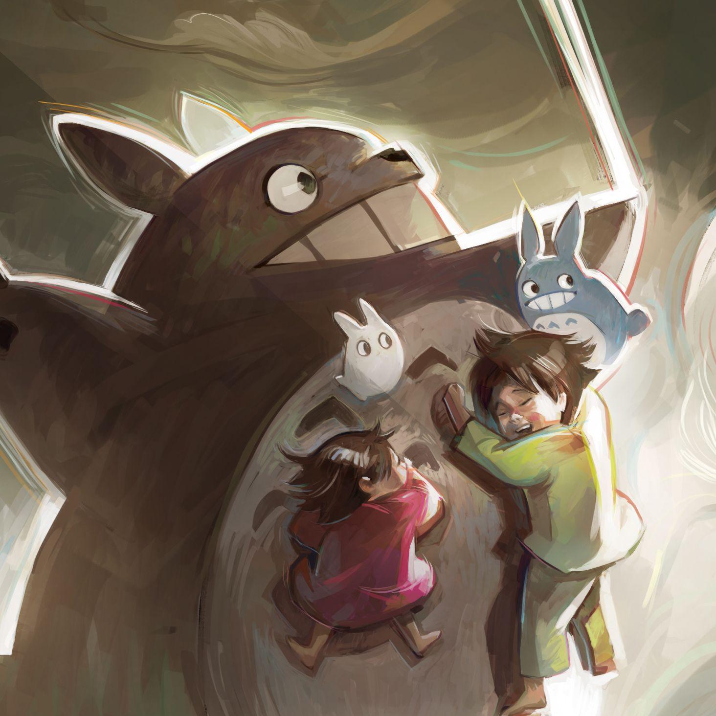 Fan art of the movie My Neighbour Totoro, a Ghibli film.