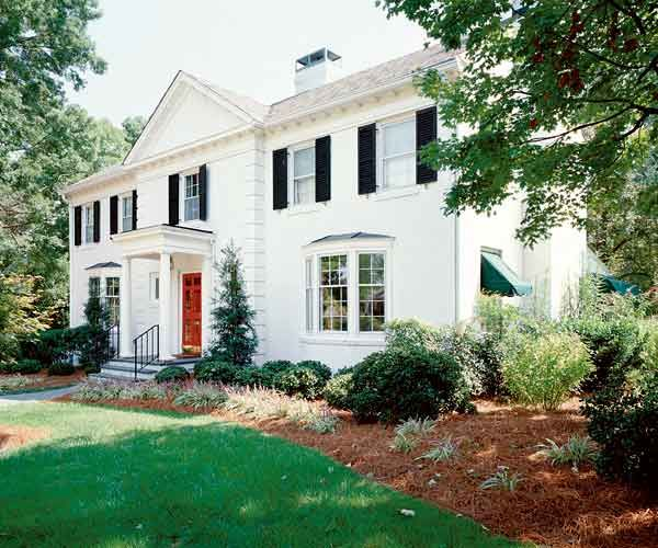 Best Exterior Colors For Colonial Revival Houses White House With Black Shutters And Red Front Door