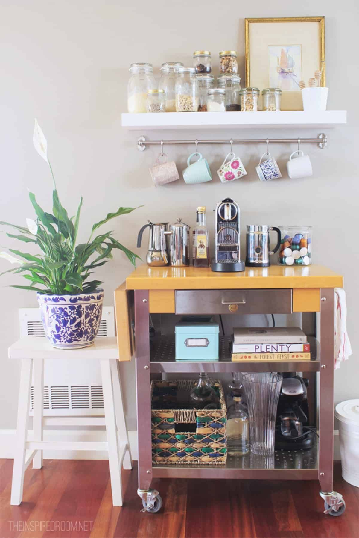 Unique Coffee Cart with White Shelf CoffeeStationIdeas