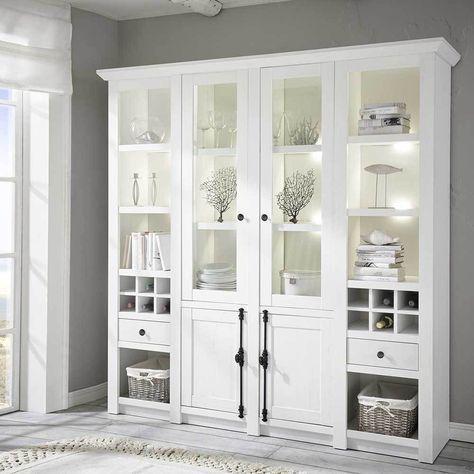 Landhaus Wohnzimmerschrank mit Weinfächern Pinie Weiß Jetzt