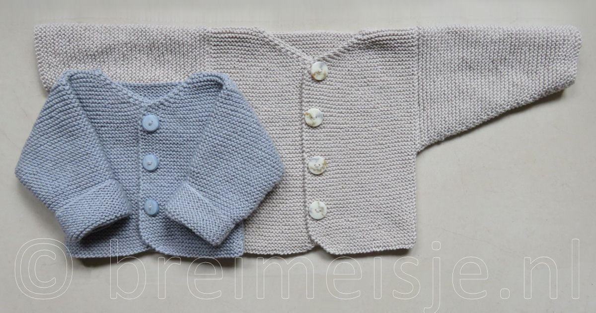 c297c9e890925b Een BN-er baby was inspiratie om dit babyjasje van enkel rechte steken te  breien