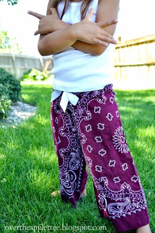 Upcycled Bandana Gaucho Pants | AllFreeSewing.com