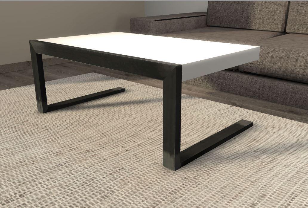 Table 1000 X 600 X 400 Acier Brut Et Corian Blanc Ep 60 Mm
