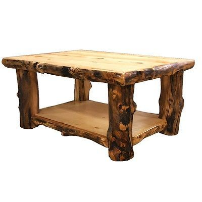 Log Coffee Table - Country Western Rustic Cabin Wood Table Living Room Decor
