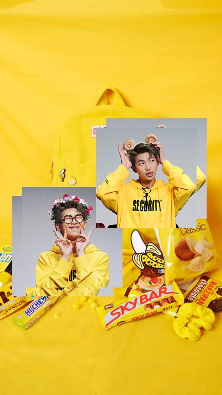Kim Namjoon Yellow Aesthetic Wallpaper Bts Rm Yellow Wallpaper Finallyyyyyyy Check Out The Link For Pretty Bgs Yellow Aesthetic Bts Wallpaper Bts Lyric