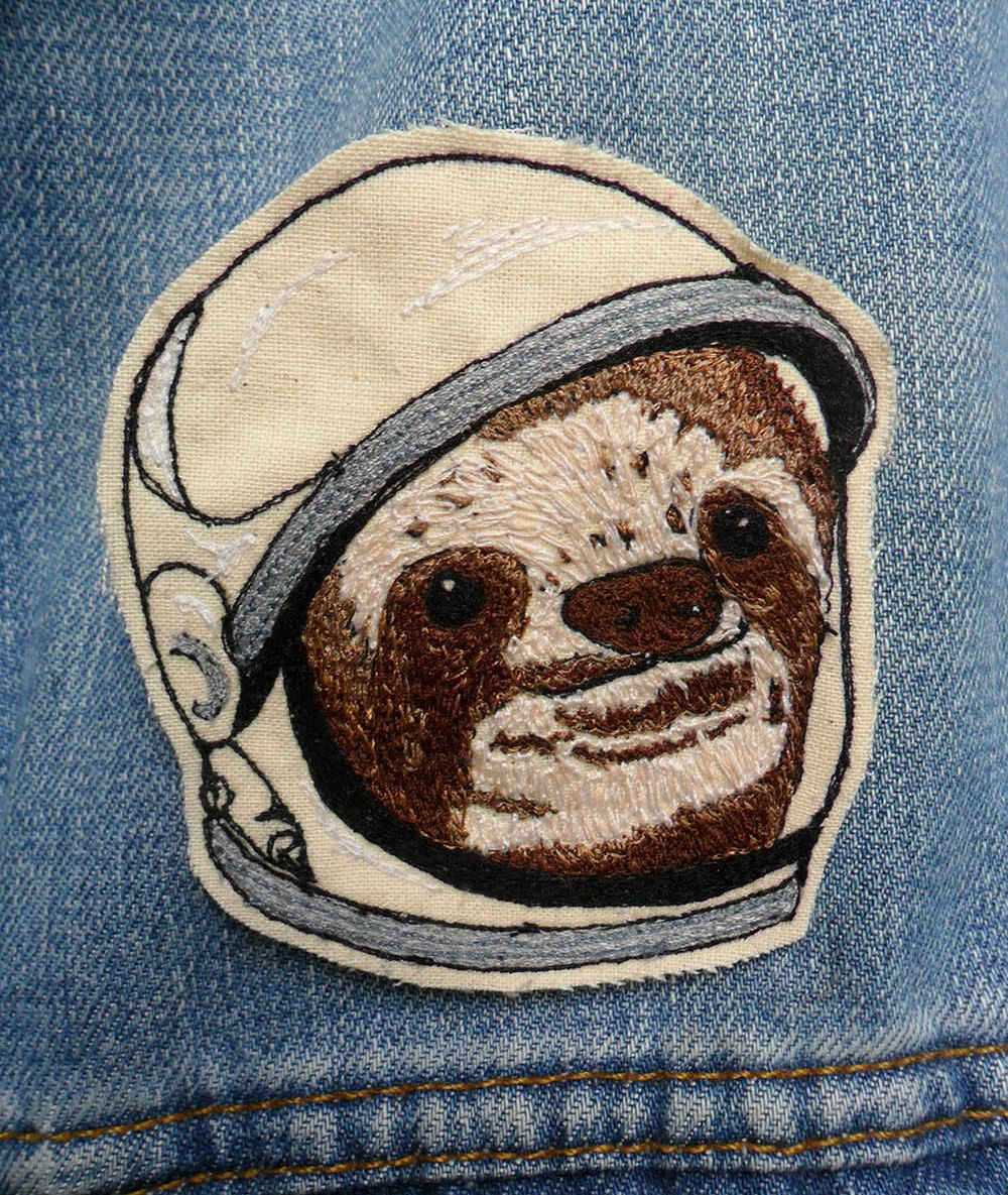 Space Sloth Embroidered Patch/Brooch by LeighLaLovesYou on Etsy,