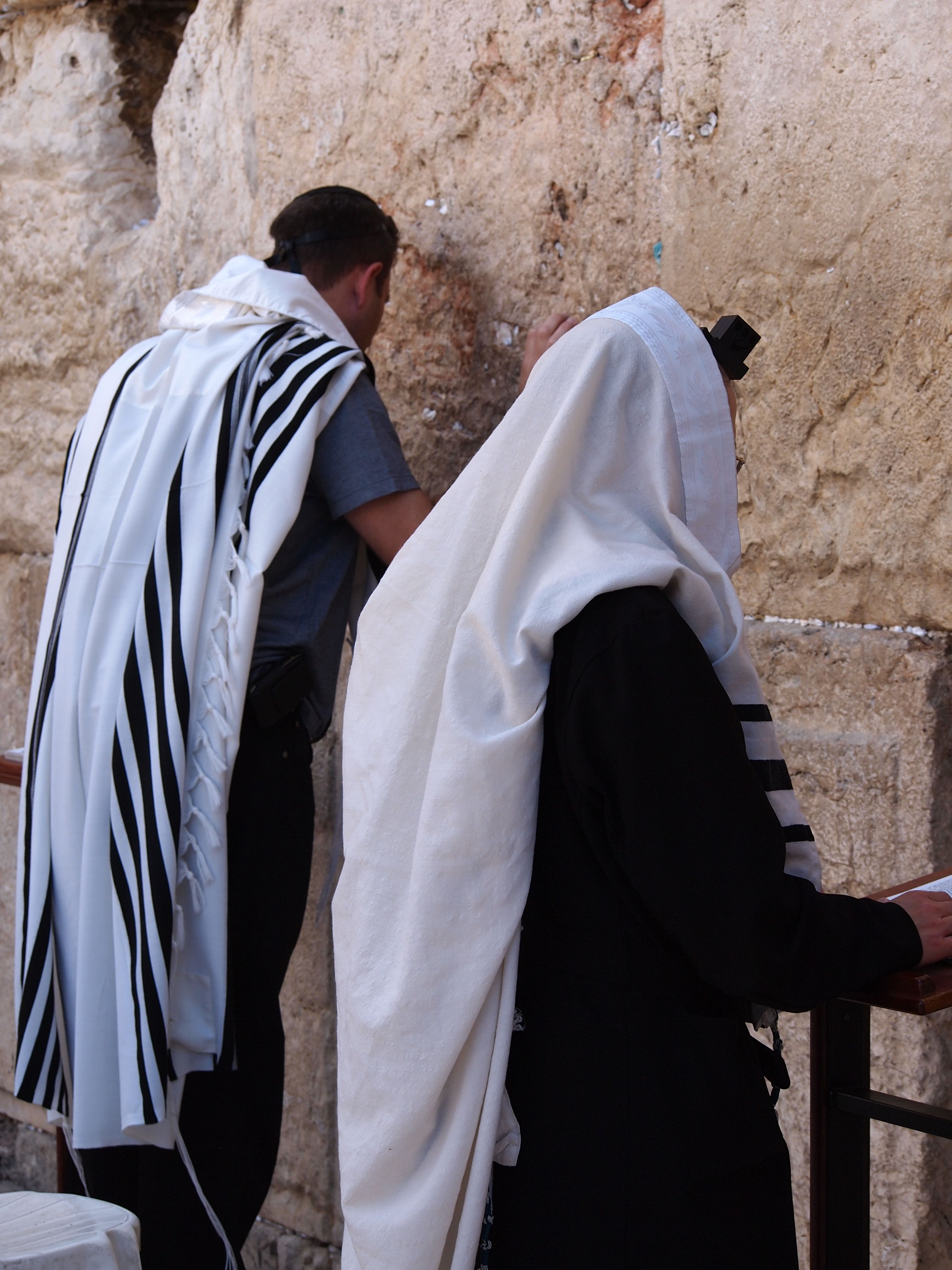 In prayer at the Western Wall in Jerusalem.