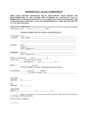 Florida Lease Agreement Fill Online Printable Fillable Blank