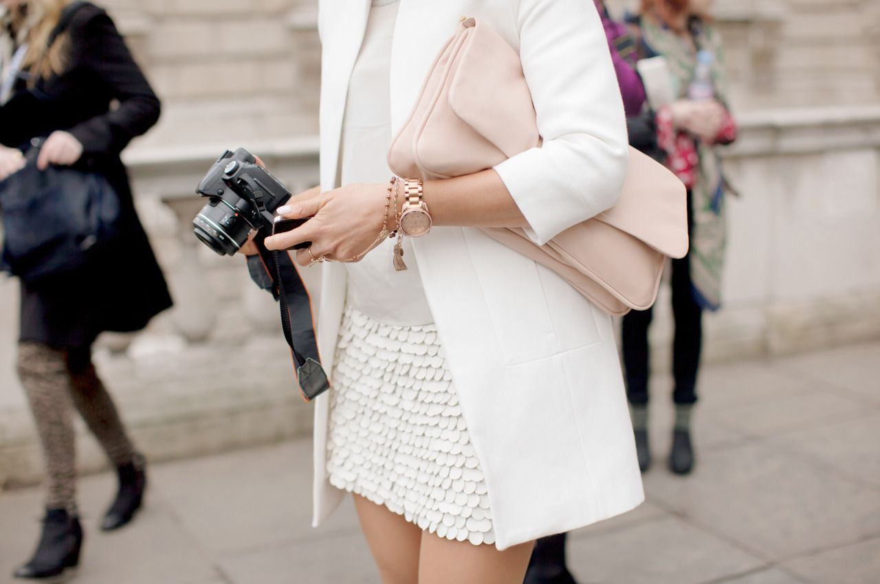especially loving the camera as accessories! Chic on the street: rose gold + paillettes + neutrals | Zara