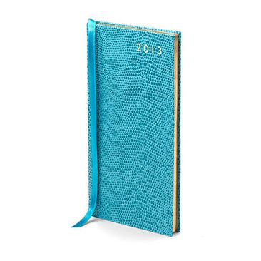 Slim Pocket Leather Diary in Turquoise Lizard - Aspinal of London