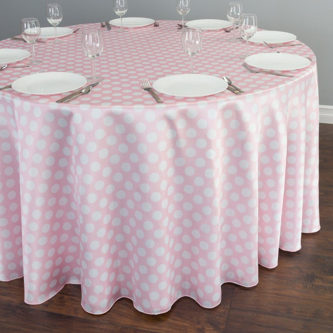Round Polka Dot Satin Tablecloth Pink / White For Birthday Parties, Showers