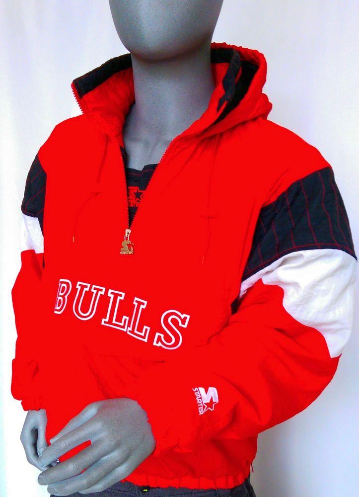big sale f349f d2a1f Chicago Bulls Starter Pull Over Jacket Vtg Sz Med 90 s Rare Red Frt Bulls  Letter  Starter  ChicagoBulls