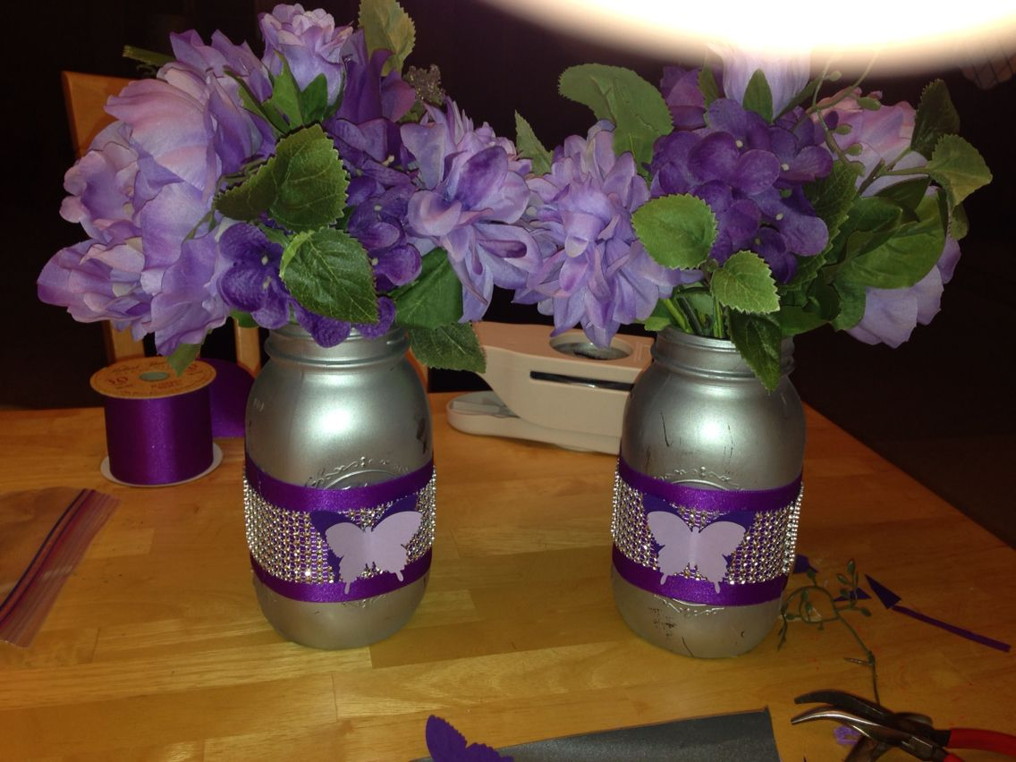 Mason jar centerpieces for purple themes baby shower