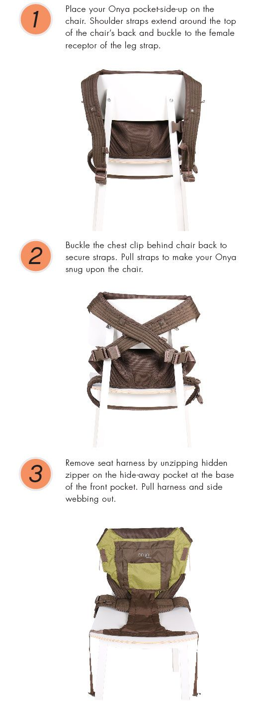 The only baby carrier that turns any adult chair into a safe seat for baby... Onya Baby -
