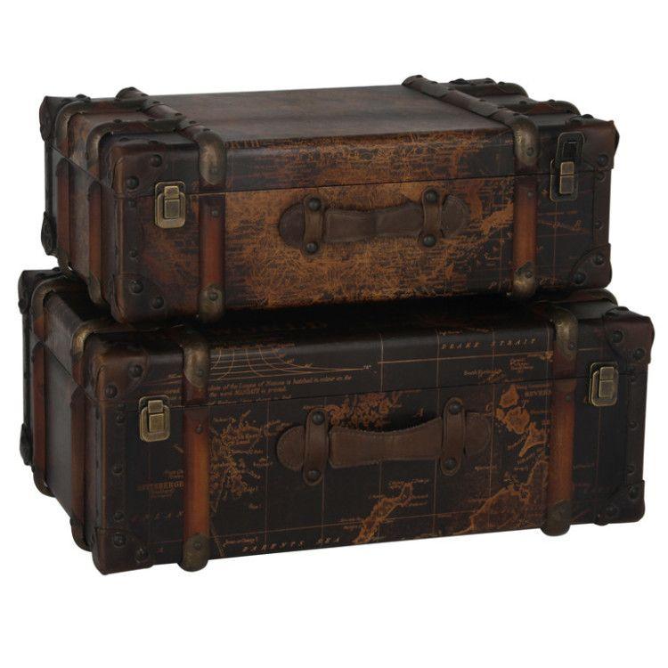 Map Design Suitcase Trunks   Set Of 2 U2013 Allissias Attic U0026 Vintage French  Style